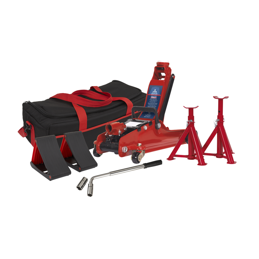 Sealey 1020LEBAGCOMBO Trolley Jack 2tonne - Red and Accessories Bag