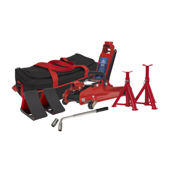 Sealey 1020LEBAGCOMBO Trolley Jack 2tonne - Red and Accessories Bag Thumbnail 1