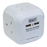 Sealey EL144USB Extension Cable Cube 1.4m 4 x 230V + 2 x USB Sockets - White