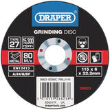 Draper 26823 Grinding Disc With Depressed Centre Bore 115 x 6 x 22.2mm