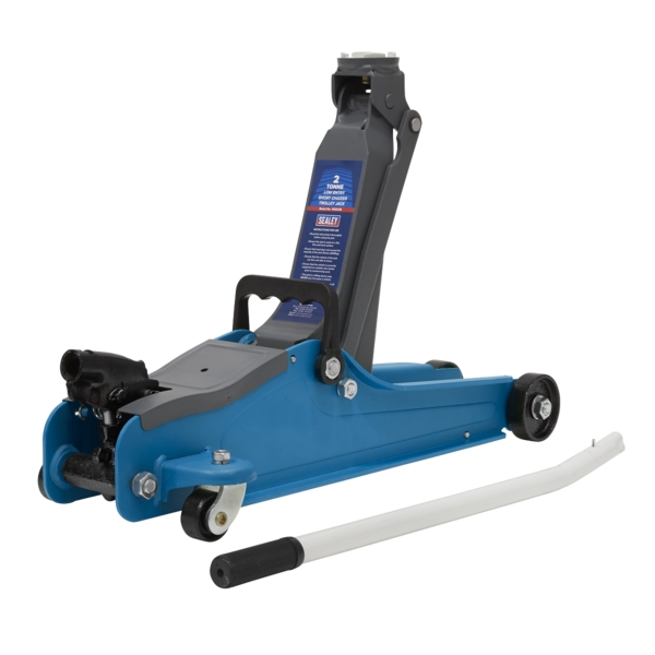 Sealey 1020LEB Trolley Jack 2tonne Low Entry Short Chassis - Blue Thumbnail 1