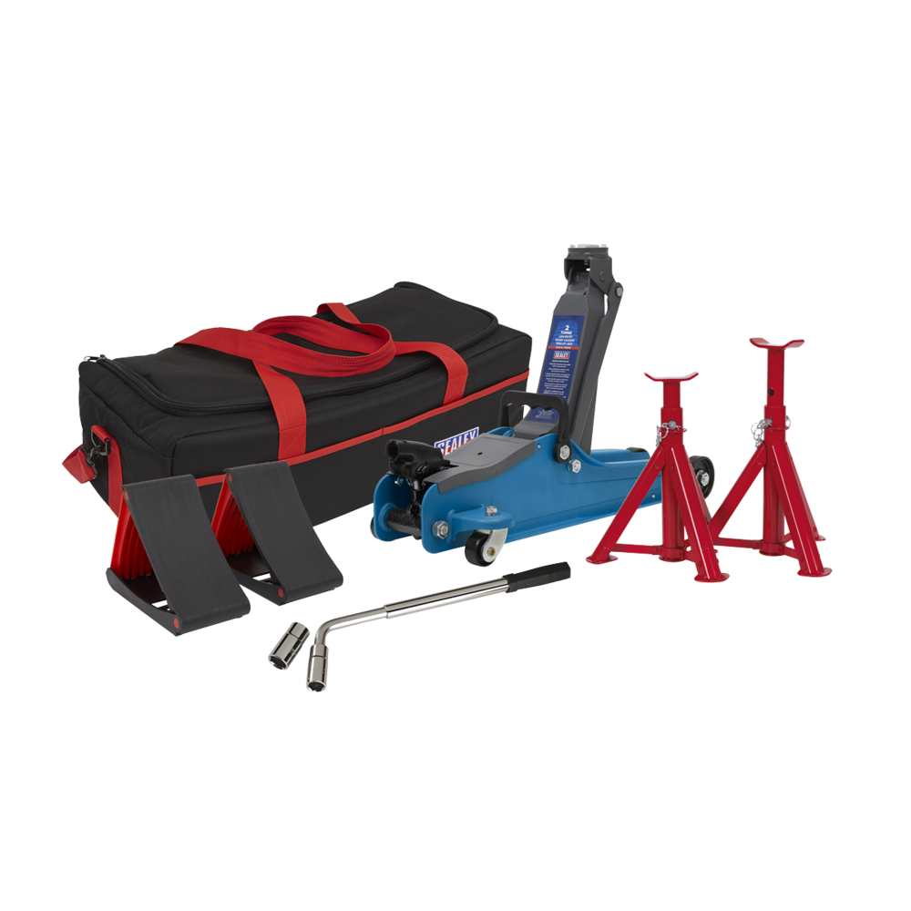 Sealey 1020LEBBAGCOMBO Trolley Jack 2tonne Blue Axle Stand Accessories Bag Chock
