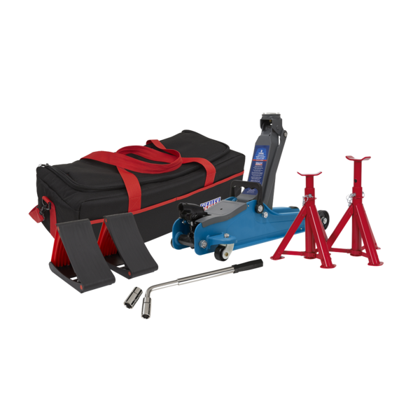 Sealey 1020LEBBAGCOMBO Trolley Jack 2tonne Blue Axle Stand Accessories Bag Chock Thumbnail 1