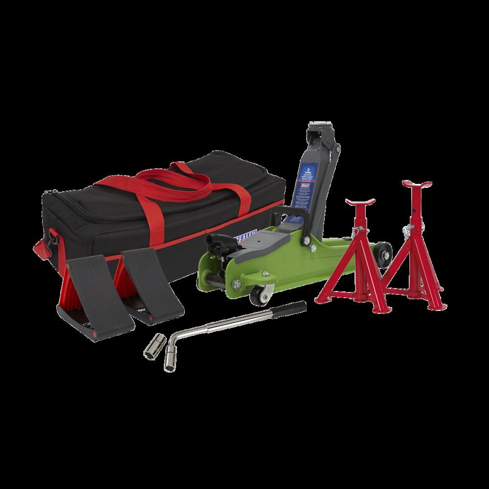 Sealey 1020LEHVBAGCOMBO Trolley Jack 2tonne Hi-Vis Green Accessories Bag Axle