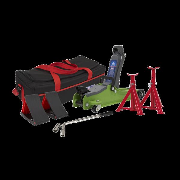 Sealey 1020LEHVBAGCOMBO Trolley Jack 2tonne Hi-Vis Green Accessories Bag Axle Thumbnail 1