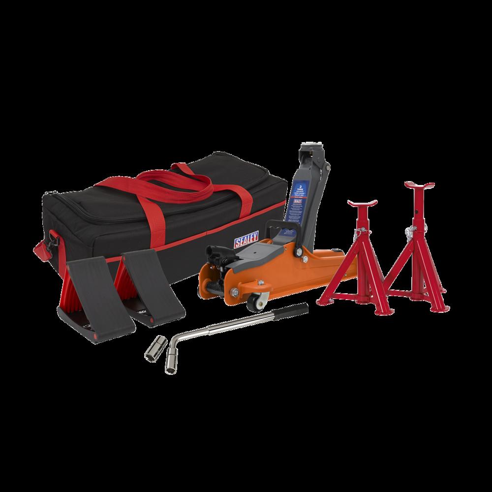 Sealey 1020LEOBAGCOMBO Trolley Jack 2tonne Orange Accessories Bag Axle Stand