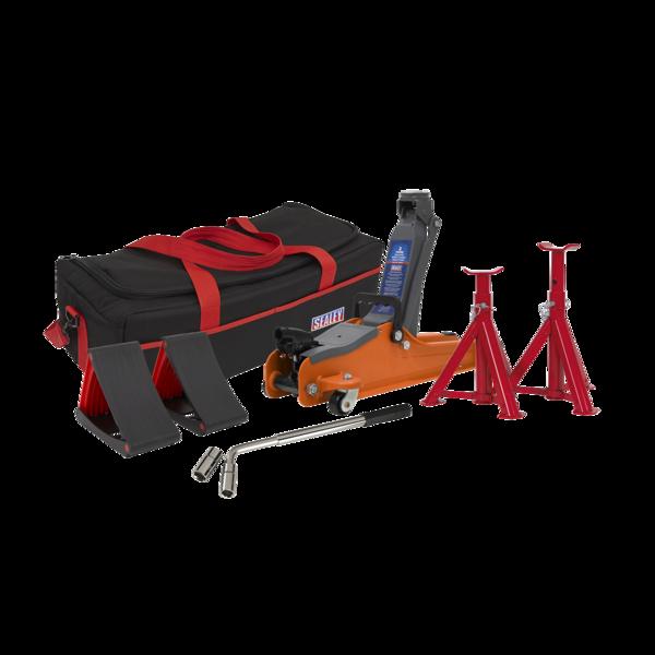 Sealey 1020LEOBAGCOMBO Trolley Jack 2tonne Orange Accessories Bag Axle Stand Thumbnail 1