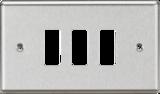 Knightsbridge MLGDCL2BC 2G Grid Faceplate - Rounded Edge Brushed Chrome