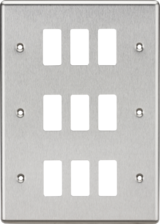 Knightsbridge MLGDCL12BC 9G Grid Faceplate - Rounded Edge Brushed Chrome