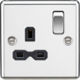 Knightsbridge MLCL7PC 13A 1G DP Switched Socket with Black Insert