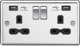 Kmightsbridge MLCL9224PC 13A 2G Switched Socket Dual USB Charger Black Insert