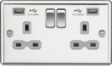 Kmightsbridge MLCL9224PCG 13A 2G Switched Socket Dual USB Charger (2.4A) with Grey Insert