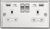 Kmightsbridge MLCL9224PCW 13A 2G Switched Socket Dual USB Charger White Insert