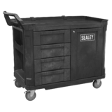 Sealey AP47PWS Mobile Workstation 4 Drawer & Cupboard 1210mm Durable Brake