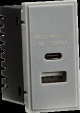 Knightsbridge MLNETUSBCGY Dual USB Charger (3.1A) Module 25 x 50mm - Grey