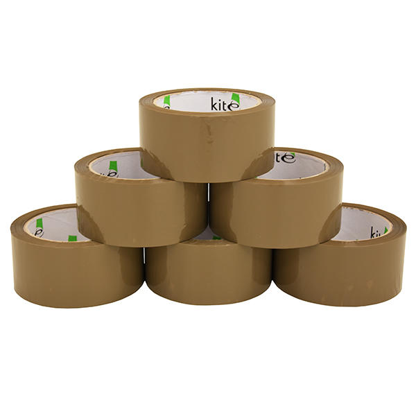 6 Rolls Brown Parcel Packing Tape Noisy Polyprop Brown Acrylic Tape 48mm x 66m Thumbnail 1