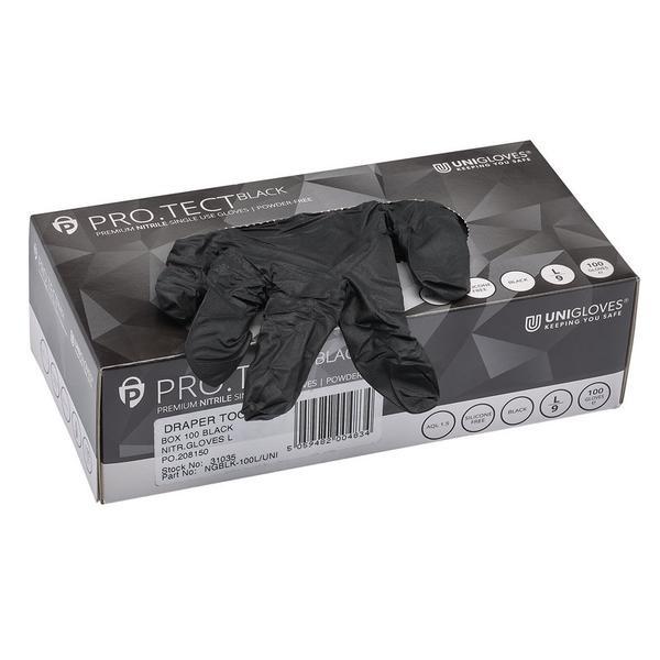 Draper 31035 Large Black Nitrile Gloves (Box of 100) Thumbnail 1