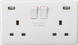 Knightsbridge MLCU9948 Curved Edge 13A 2G DP Switched Socket with Dual USB