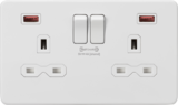 Knightsbridge MLSFR9908MW 13A 2G DP Switched Socket with Dual USB FASTCHARGE