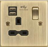 Knightsbridge MLCS9124AB 13A 1G Switched Socket Dual USB Antique Brass