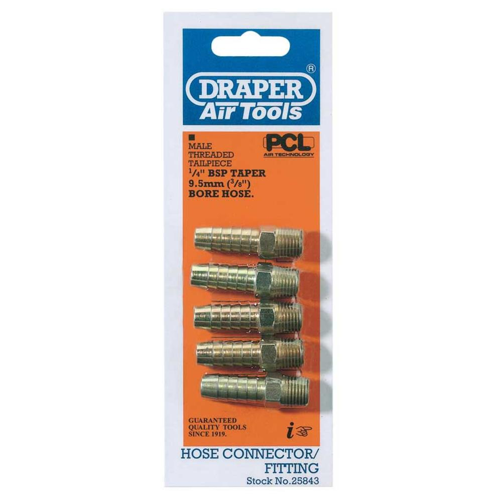 Draper 25843 A1217 PACKED 1/4 Taper 3/8 Bore Pcl Male Screw Tailpie