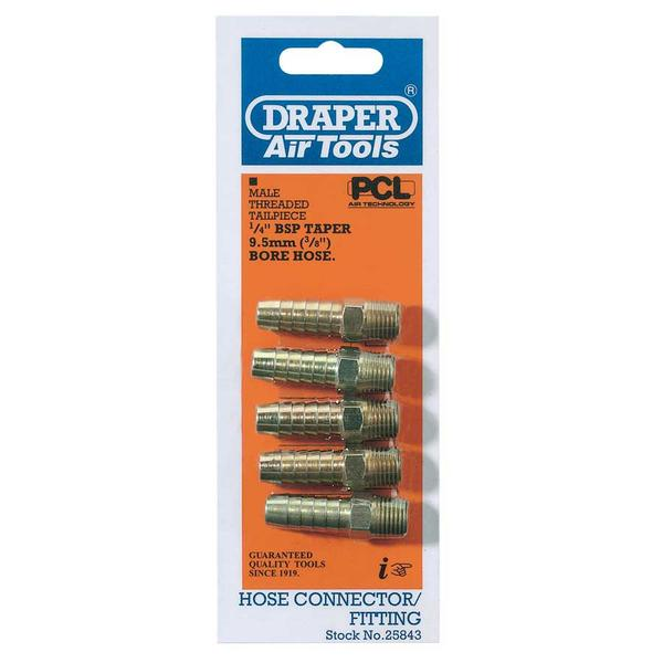 Draper 25843 A1217 PACKED 1/4 Taper 3/8 Bore Pcl Male Screw Tailpie Thumbnail 1