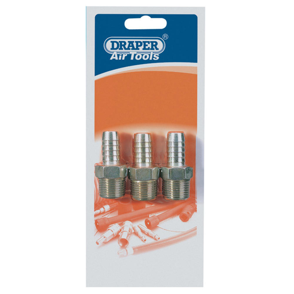 """Draper 25864 A2954 PACKED 1/2"""" Taper x 1/2"""" Hose Connector x 3"""