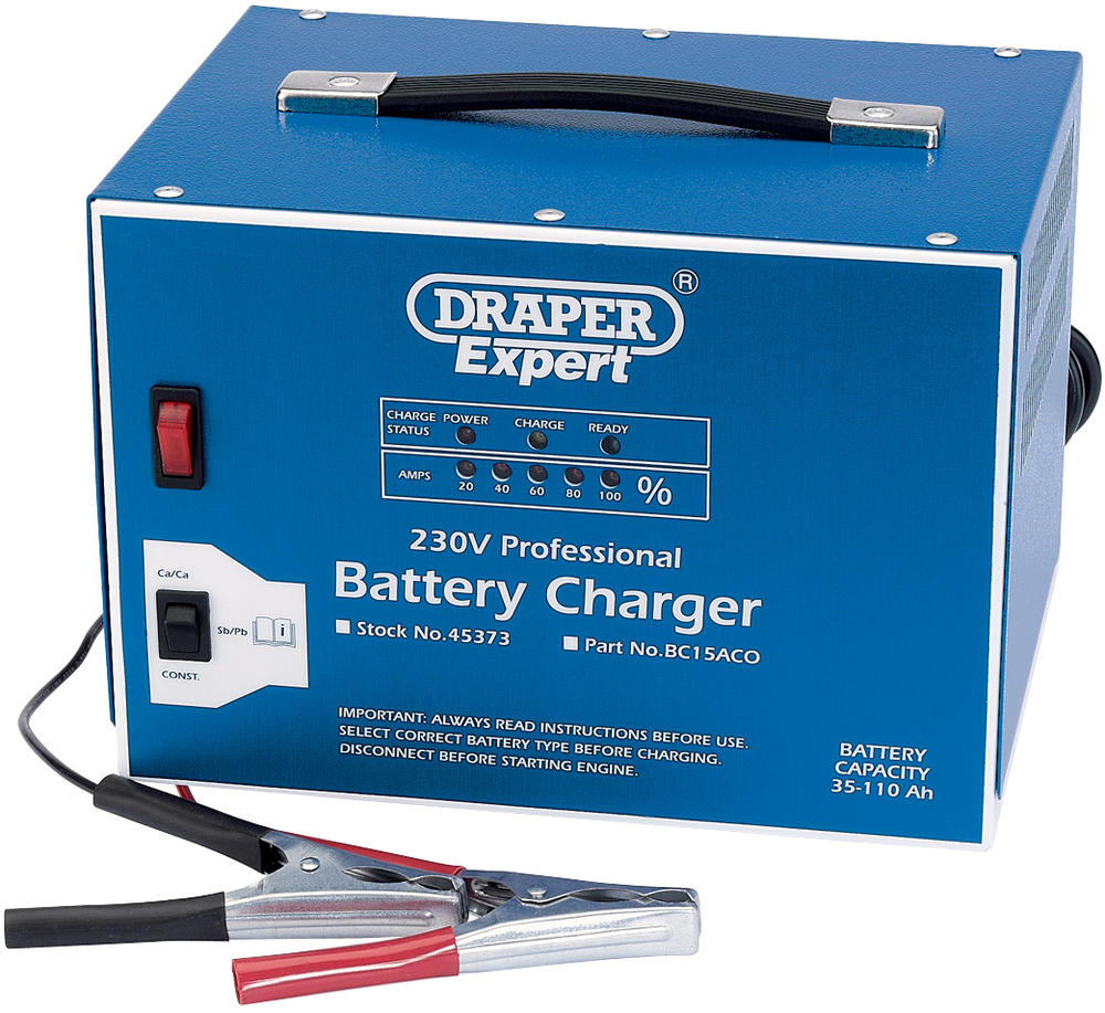 Draper 45373 BC15ACO Expert 12V Battery Charger with Constant Output Mode
