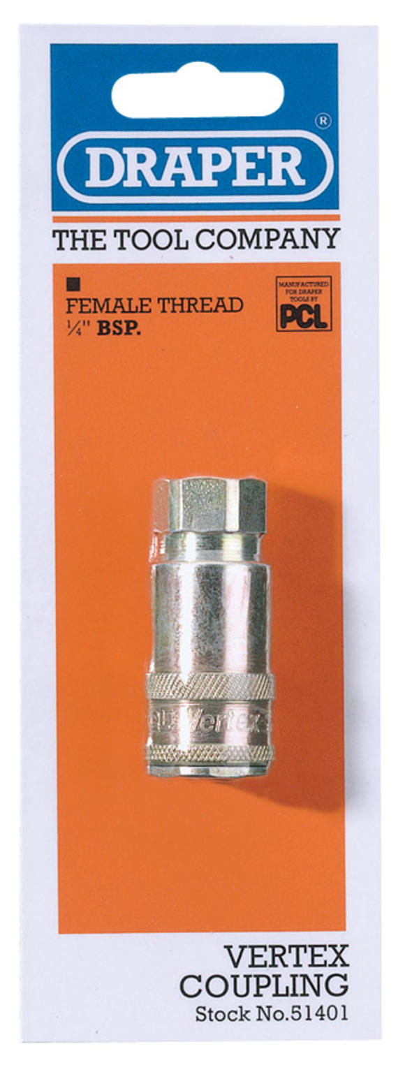 Draper 51401 A91CF02 1/4 BSP Taper Female Thread Vertex Air Coupling Thumbnail 1
