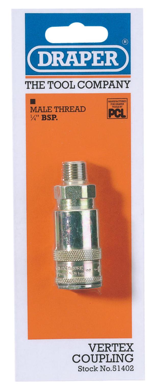 Draper 51402 A91CM02 1/4 BSP Taper Male Thread Vertex Air Coupling Thumbnail 1
