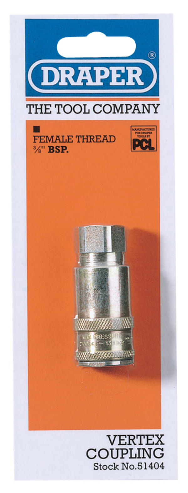 Draper 51404 A91EF02 3/8 BSP Taper Female Thread Vertex Air Coupling Thumbnail 1