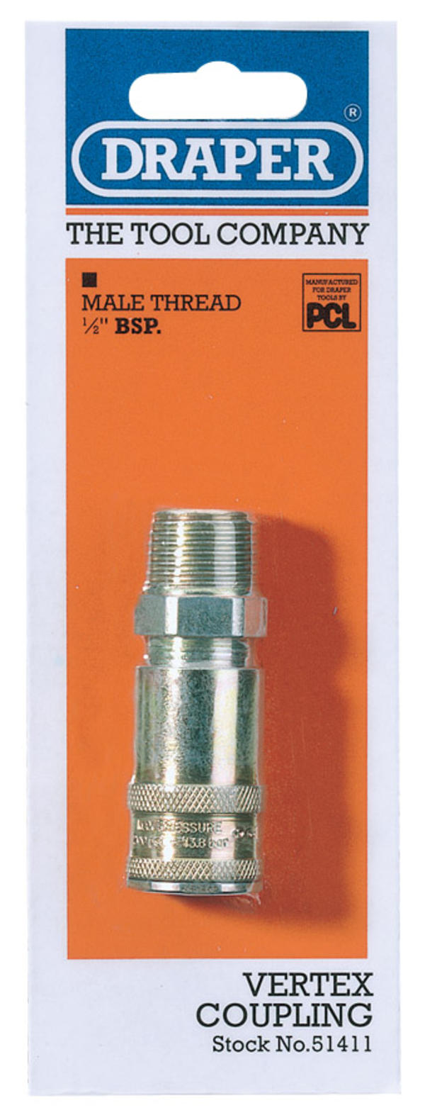 Draper 51411 A91JM02 1/2 BSP Taper Male Thread Vertex Air Coupling Thumbnail 1