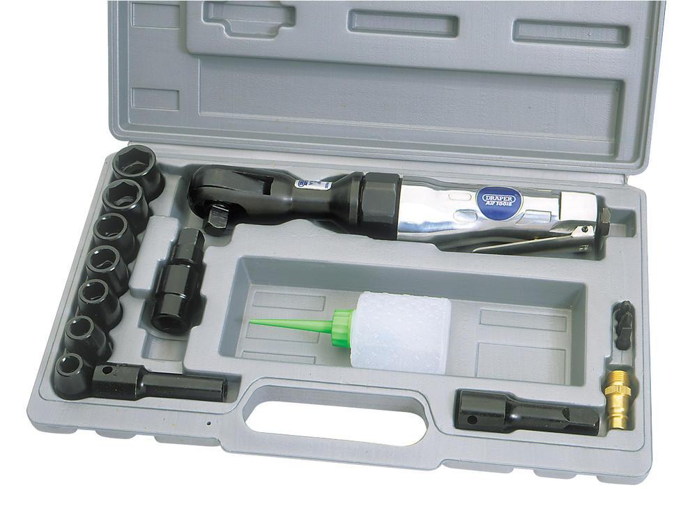 Draper 52604 4204BK 15 Piece 3/8 Square Drive Reversible Air Ratchet Ratchet Kit