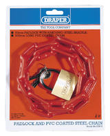 Draper 55818 PLC Padlock And Pvc Coated Steel Chain