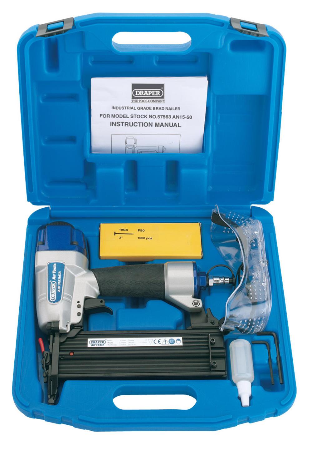 Draper 57563 AN15-50 15-50mm Air Nailer Kit