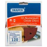 Draper 63370 SD5V Pack of 10 125mm 120 Grit Hook & Loop Sanding Discs