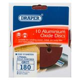 Draper 63371 SD5V Pack of 10 125mm 180 Grit Hook & Loop Sanding Discs