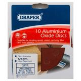 Draper 63372 SD5V 125mm Assorted Grit Hook & Loop Sanding Discs 10 Pack