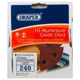 Draper 64040 SD5V 125mm 240 Grit Hook & Loop Sanding Discs 10 Pack