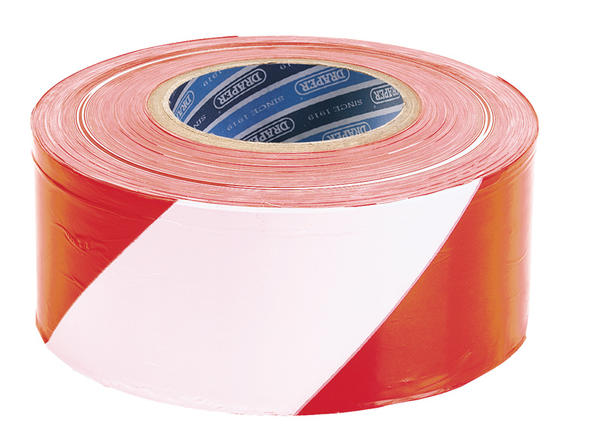 Draper 66041 TP-BAR 75mm x 500M Red &White Barrier Tape Roll Thumbnail 1