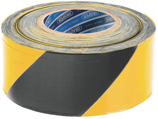 Draper 69009 TP-BAR 500M x 75mm Black and Yellow Barrier Tape Roll Thumbnail 1