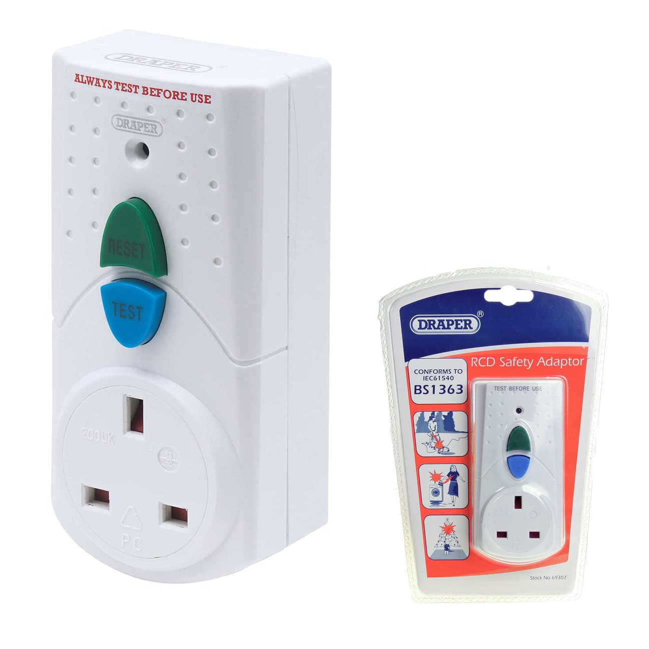 Draper 69307 Rcd3 230v 13a Rcd Adaptor Always Plug Power Tools Into A Rcb Circuit Breaker As Safety