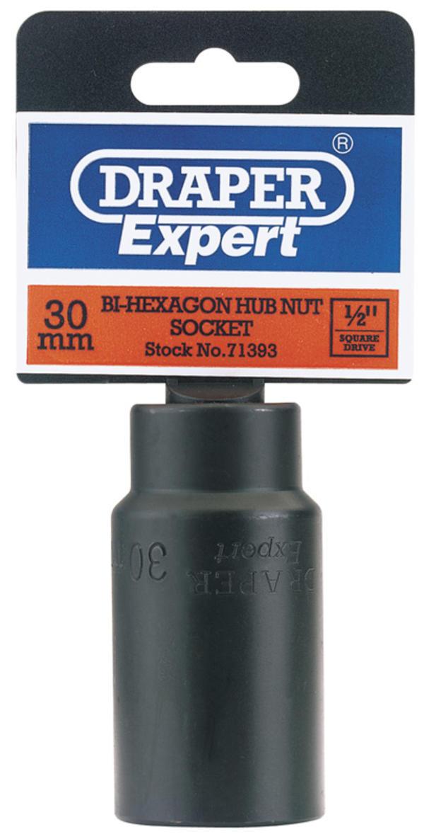 Draper 71393 410D-MM 30mm 1/2 Square Drive Hub Nut Impact Socket Thumbnail 1
