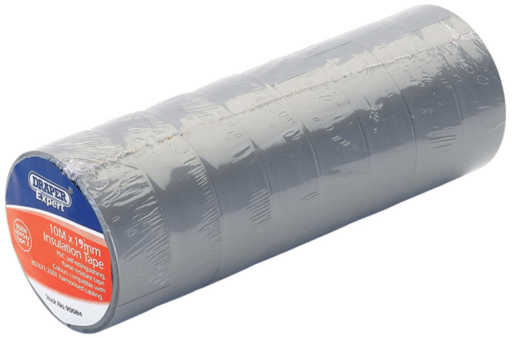 Draper 90084 619 Expert 8 x 10M x 19mm Grey Insulation Tape to BSEN60454/Type2