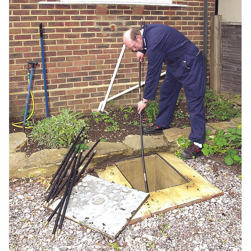 Draper drain cleaning rod set brass fittings worm