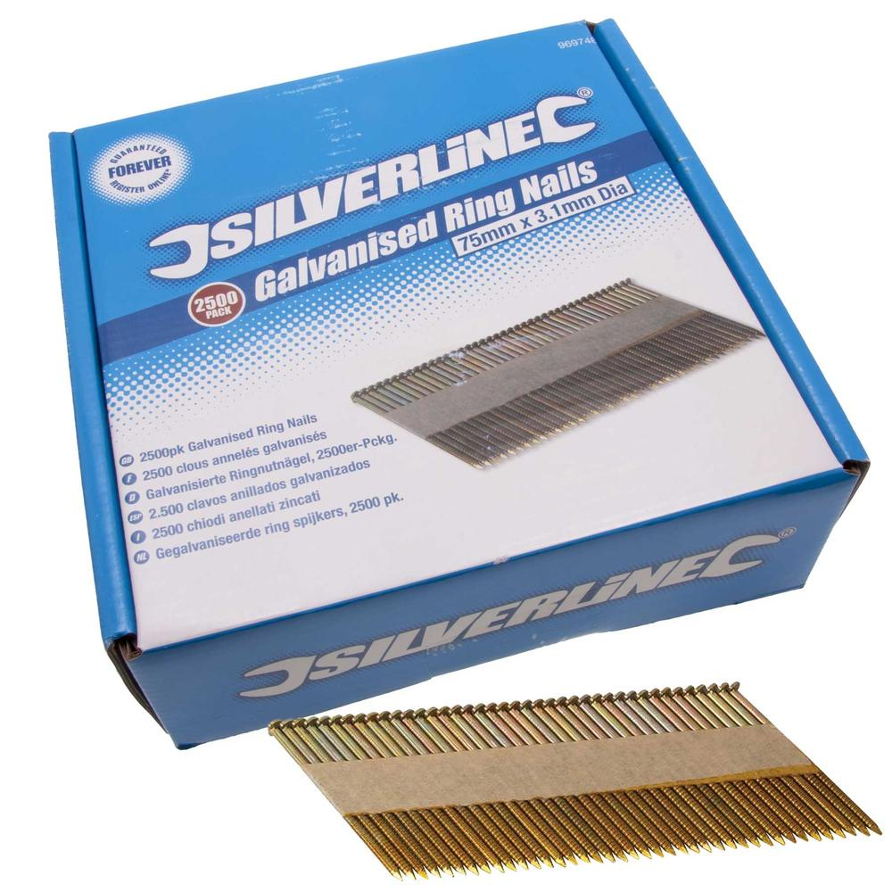 Silverline 969748 Galvanised Ring Nails 2500pk 75 x 3.1mm