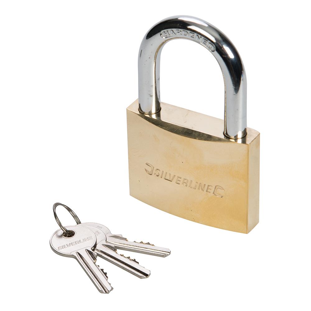 Silverline MSS02 Brass Padlock 30mm 4020797009426 | eBay