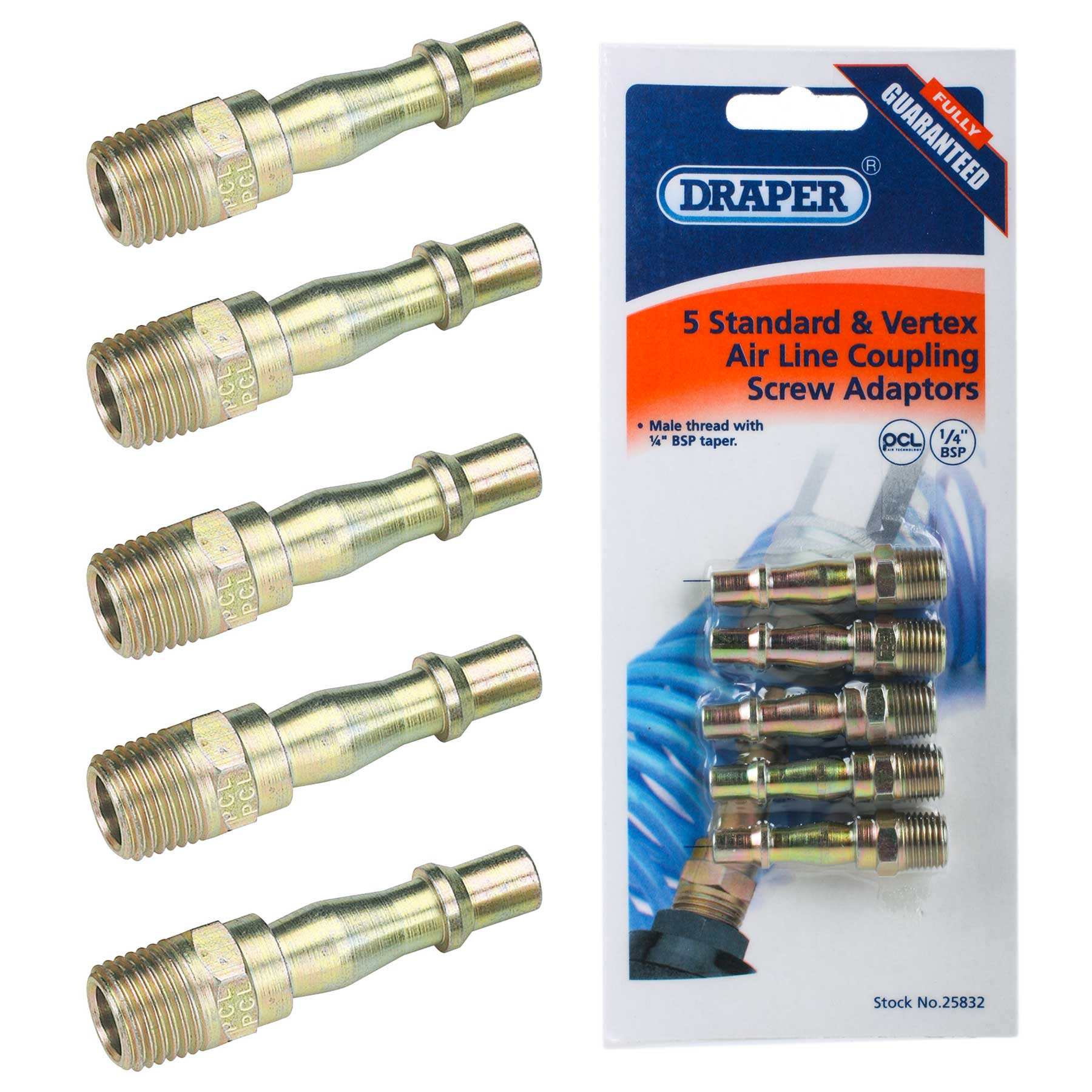 Draper 25832 A2593 5 Pack Air Tools 1/4 BSP Screwed Connectors Thumbnail 1