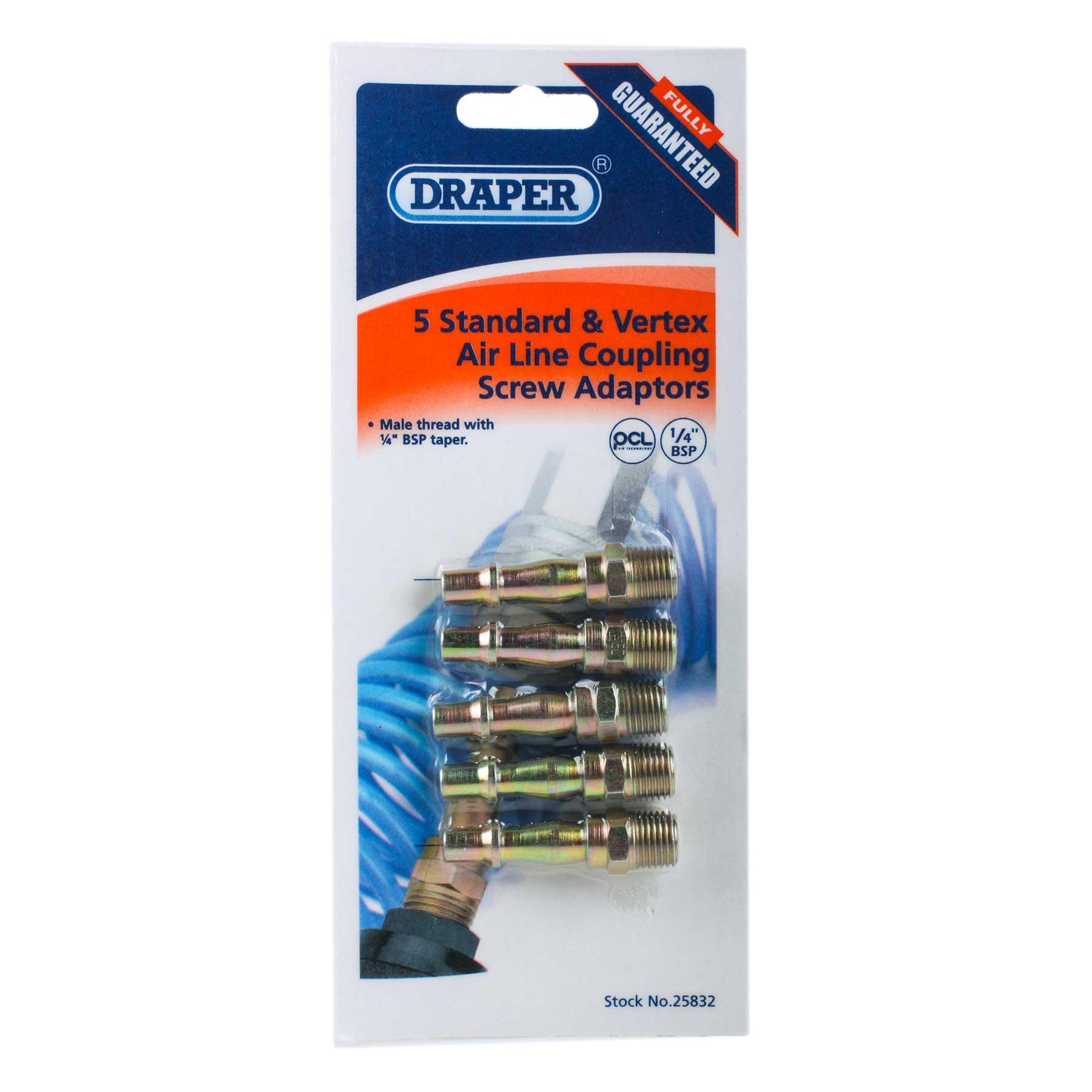 Draper 25832 A2593 5 Pack Air Tools 1/4 BSP Screwed Connectors Thumbnail 3