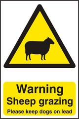 Warning Sheep Grazing Please Keep Dogs on Lead Corrugated Plastic Sign